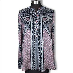 Hale Bob Long Sleeve Pattern High Low Silk Blouse